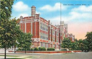 Austin Minnesota~3 Towers, Tiny Turrets @ High School~1940 Postcard