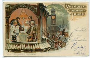 Viel Gluck Neuen Jahr Happy New Year Greeting 1902 postcard