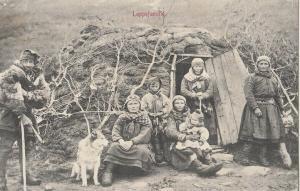 NORWAY 1900 Ethnic Native Laplander Family Lappefamilie dog traditional house