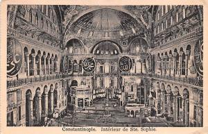 Turkey Old Vintage Antique Post Card Interieur de Ste Sophie Constantinople W...