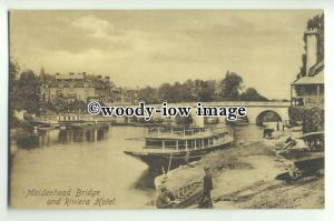 tp9299 - Berks - Downriver to Maidenhead Bridge and the River Hotel - Postcard