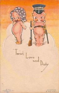 Rose O' Neill Kewpie Twixt Love and Duty Postcard