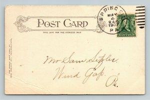 Spring City PA-Pennsylvania, North Main Street, Trolley Vintage c1907 Postcard