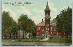 Columbia City Indiana~Rch Door Open @ High School & West Ward~Flagpole~c1910