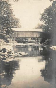F21/ Bethel Maine RPPC Postcard 1907 Covered Bridge River