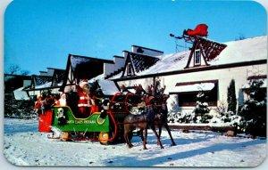 Vintage SANTA CLAUS, Indiana Postcard Sleigh & Reindeer Roadside Chrome c1950s