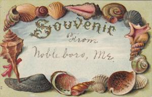 Greetings Souvenir From Nobleboro Maine Shell Border