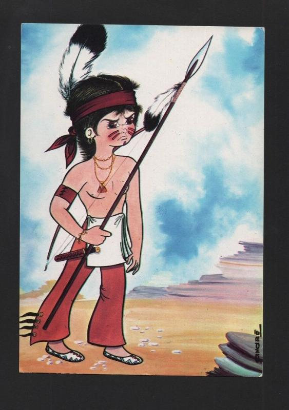 1960years POP ART POSTCARD AMERICAN INDIAN BOY INDIANS AMERICA z1