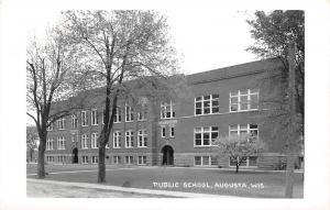 E33/ Augusta Wisconsin Wi Real Photo RPPC Postcard c50s Public School