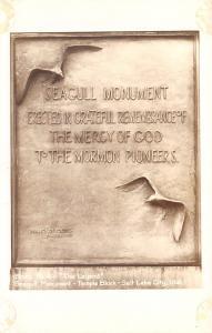 Salt Lake City~Plaque Closeup~Seagull Monument to the Mormon Pioneers RPPC c1933