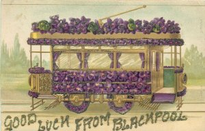 Good luck from Blackpool floral tram embossed fantasy greetings postcard tramway