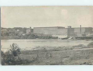 Pre-1907 rppc LARGE FACTORY BUILDING WITH SMOKESTACK ON THE RIVER HM0418