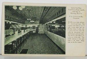 Wheeling WV FORT HENRY DAIRY LUNCH Interior First Floor 1908 Postcard K5