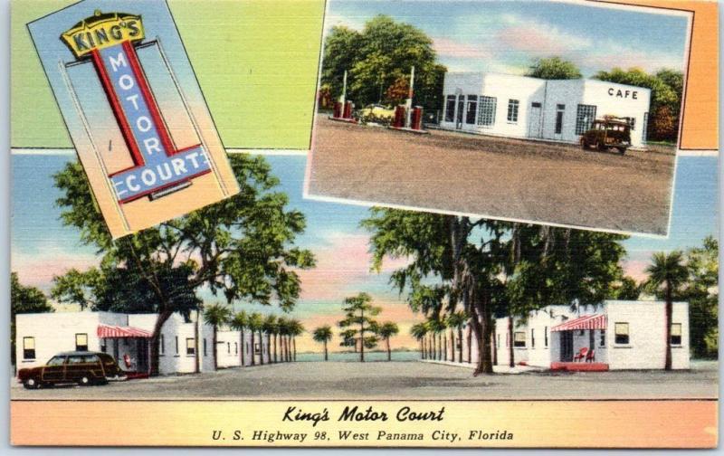 Panama City, Florida Postcard KING'S MOTOR COURT Highway 98
