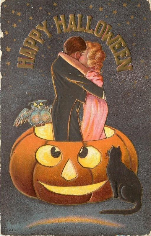 Bernhardt Wall~Halloween~Couple Kiss in Exaggerated Jack-O-Lantern~Black Cat~Owl