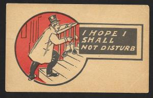Man Creeping up Stairs 'I Hope I Shall Not Disturb' Unused c1905