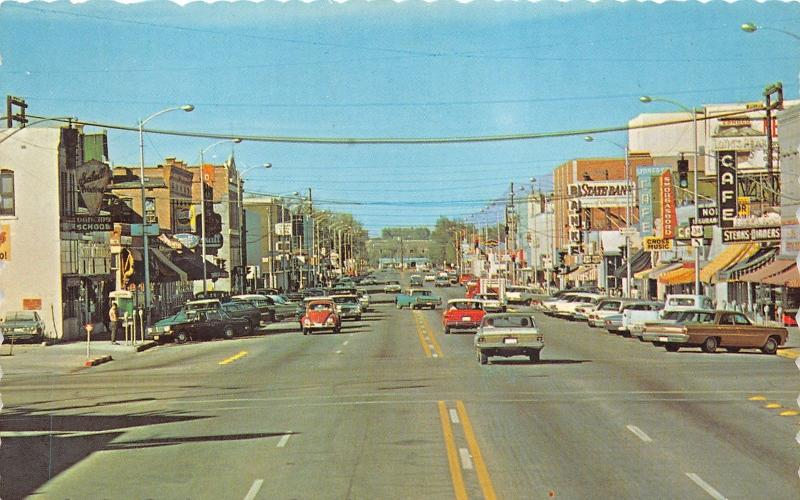 Greeley Colorado 8th Avenue North 10th Street Cross Music Pepsi Sign 60s Cars Hippostcard