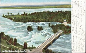 GOAT ISLAND BRIDGE &  RAPIDS -  aerial view shows bridge over Niagara Falls 1908