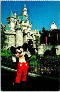 Vintage DISNEYLAND Postcard Mickey and Sleeping Beauty Castle c1970s Unused
