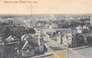 Webster City Iowa~Birdseye Panorama~Main Street~White Horse by Barn~Lost Ma~1919
