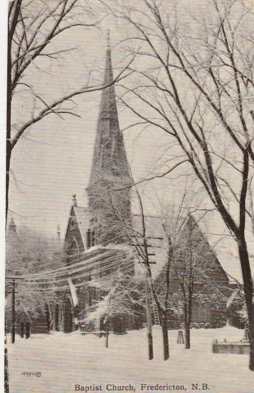 Baptist Church in Winter - Fredericton NB, New Brunswick, Canada - pm 1910 - DB