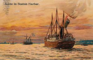 BOSTON, Massachusetts, PU-1908 ; Steamer/Ship, Scene In Boston Harbor