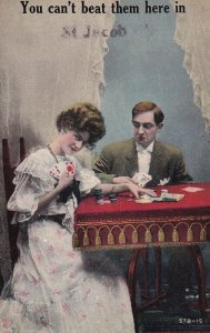 ILLINOIS, PU-1911; Couple Playing Cards, You Can't Beat Them Here In ST. JACOB