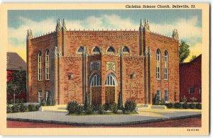 Belleville, Illinois - Christian Science Church - 1938 Curt Teich LInen Postcard