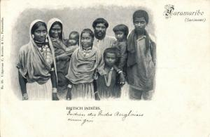 suriname, PARAMARIBO, Group of British Indians (1899) Postcard