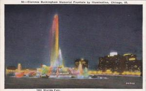Illinois Chicago Clarence Buckingham Memorial Fountain By Illumination 1931