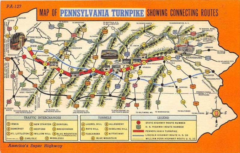 18909 Pennsylvania Turnpike Map Showing Connecting Routes Traffic