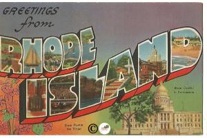 Vintage Linen Postcard Greetings from Rhode Island Big Letter Large Letter
