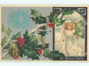 Pre-Linen BEAUTIFUL ANGEL HOLDING LITTLE CHRISTMAS TREE AB5153