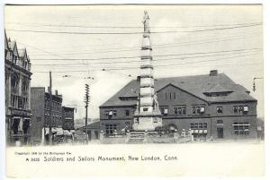 New London CT Soldiers and Sailors Monument Postcard