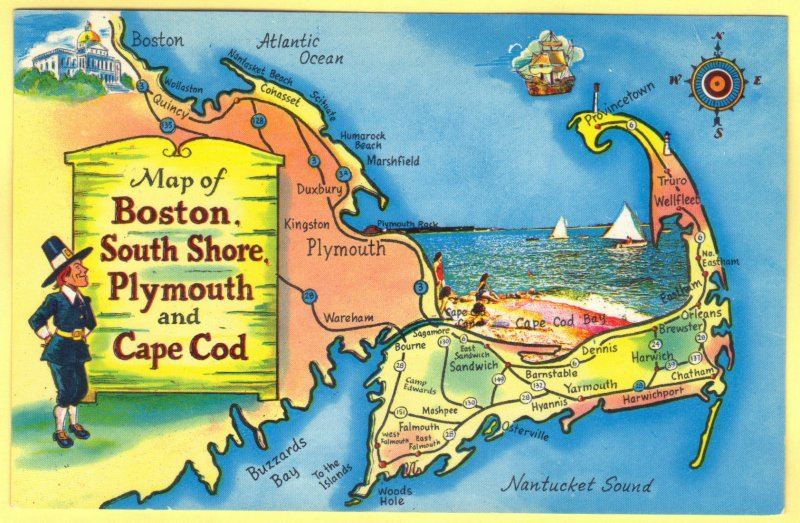 MAP OF BOSTON,SOUTH SHORE,PLYMOUTH AND CAPE COD, MASSACHISETTS   SEE SCAN