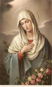 The Virgin Maria Vintage Spanish religious postcard