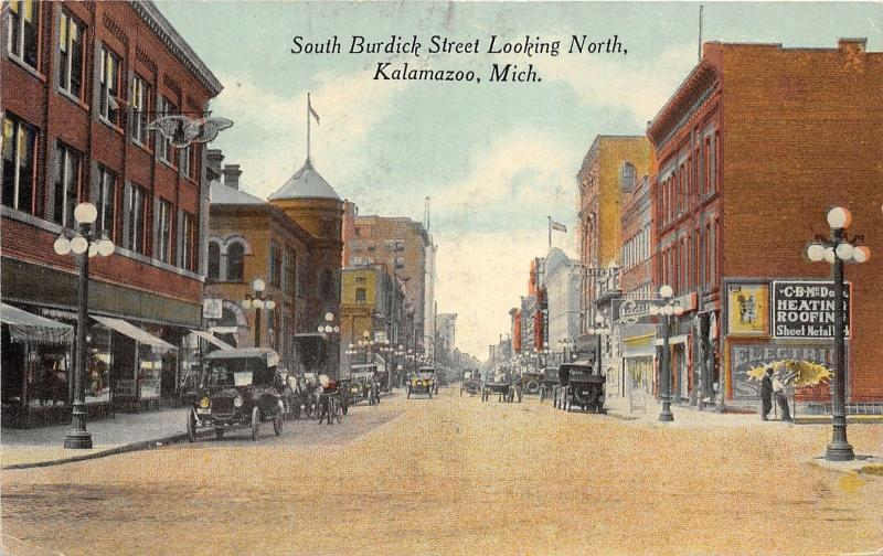 Kalamazoo Michigan~South Burdick Street Looking North~Horse & Buggy~Cars~1915 Pc