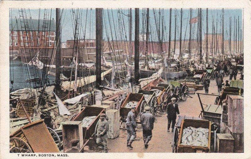 Massachusetts Boston T Wharf 1918 Curteich sk5803