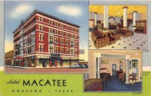 G22/ Houston Texas Postcard Linen 1940 The Macatee Hotel Coffee