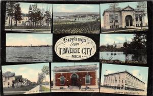 Traverse City Michigan~8 Views-School-Orchard-Library-Post Office-Street~c1910