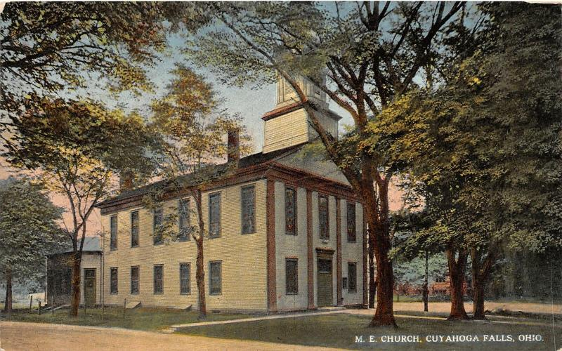 F27/ Cuyahoga Falls Ohio Postcard c1910 M.E. Church Building