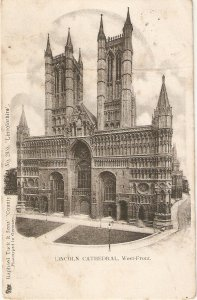 lINCOLN cATHEDRAL, WEST FRONT TUCK COU TRY SERIES PC # 2355