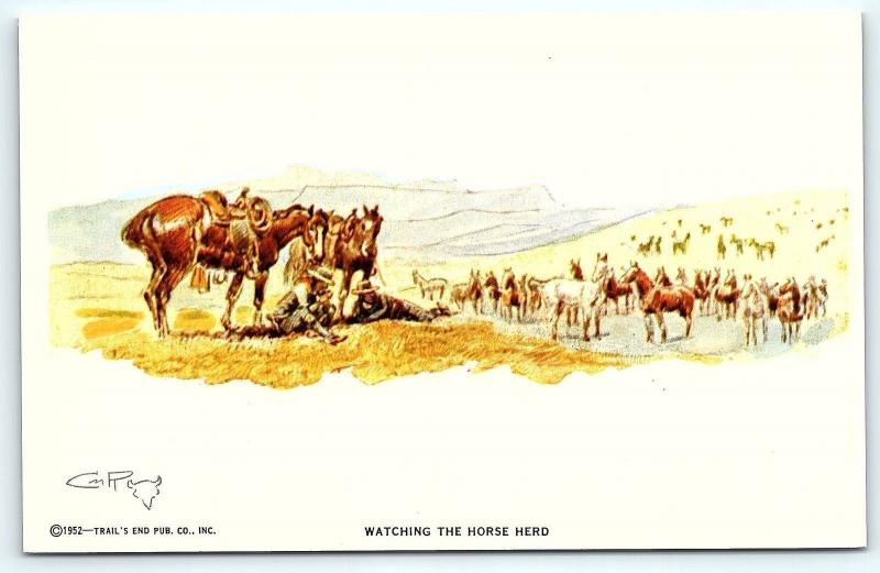 Postcard A/S 1952 Trail's End Artist Charles M Russell Watching The Horse Hero