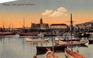 Spain Old Vintage Antique Post Card Vista general del Puerto Malaga Unused