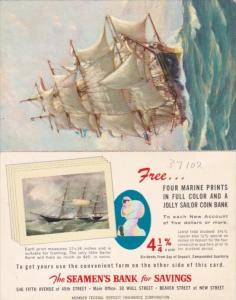 Advertising The Seamen's Bank For Saving New York Fold Out