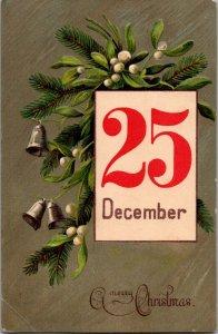 Pretty Christmas pine white berries bells big red 25 December vtg postcard