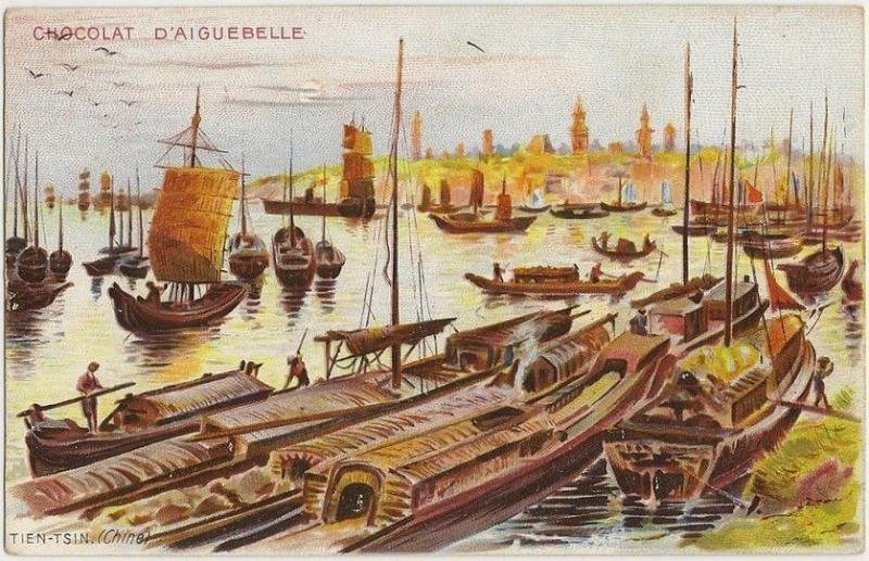 China Aiguebelle Chocolate advert postcard Junks & Boats