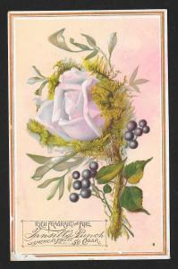 VICTORIAN TRADE CARD Tansills Punch Cigar Rose, Stem & Leaves