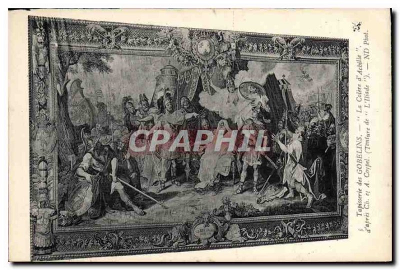 Old Postcard The Gobelins tapestry after Ch Achilles Colere and A Coypel