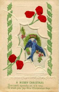 Embroidered Silk  - A Merry Christmas